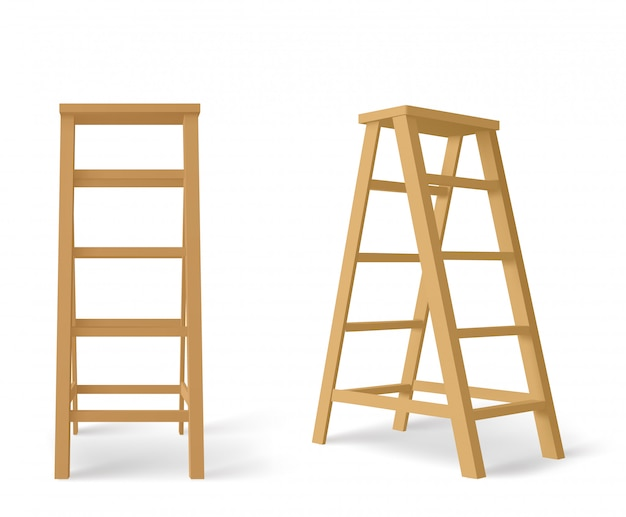 Wooden stepladder, tall stair with stand for tray