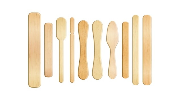 Wooden stick popsicle in different form set