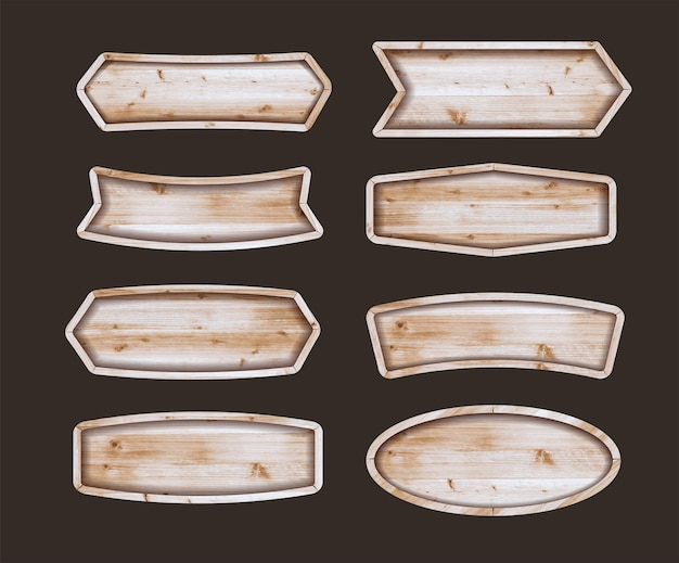 Wooden stickers label collection. set of various shapes wooden sign boards. illustration