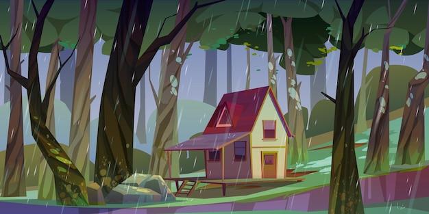 雨天時の夏の森の木造高床式住宅