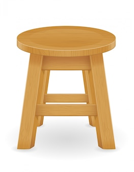 Wooden stool furniture vector illustration