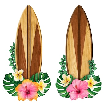 Wooden surf boards and tropical flowers