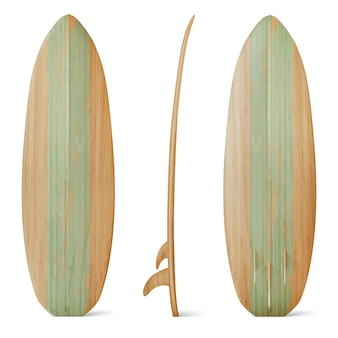 Wooden surfboard front, side and back view. realistic of wood board for summer beach activity, surfing on sea waves. leisure sport equipment isolated on white background