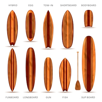Wooden surfboards realistic set