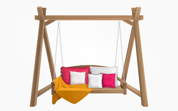 Wooden swing bench with pillows and blanket
