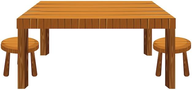 白い背景の上の木製のテーブルとスツール