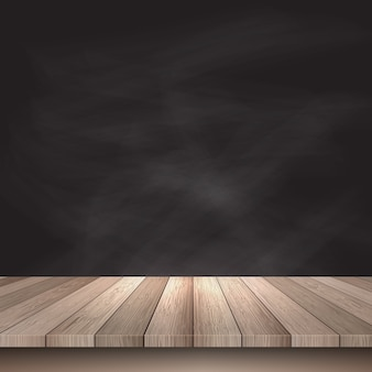 Wooden table on a black background