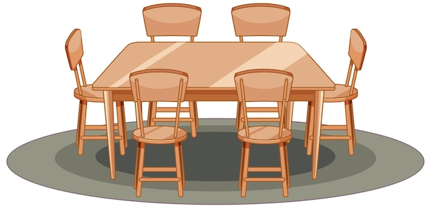 Wooden table and chair cartoon style isolated