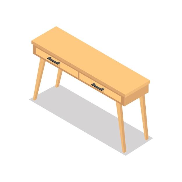 背景で隔離された木製のテーブル