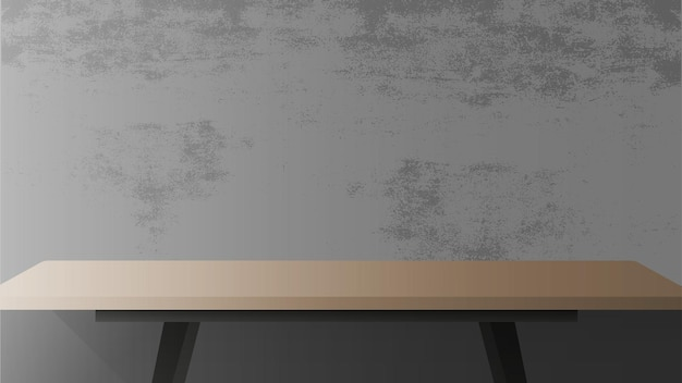 Wooden table with black metal base. empty table, gray, concrete wall.