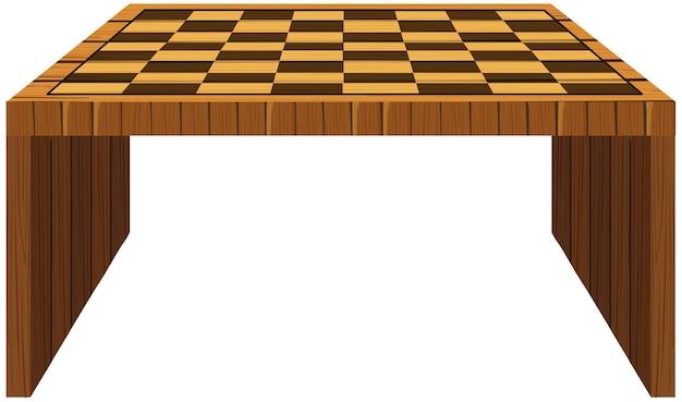 上にチェッカーパターンの木製テーブル