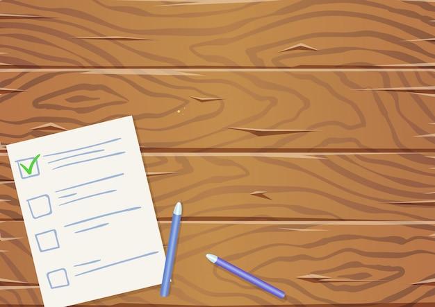 紙のリストと鉛筆、上面と木製のテーブル。 copyspace。図。横型