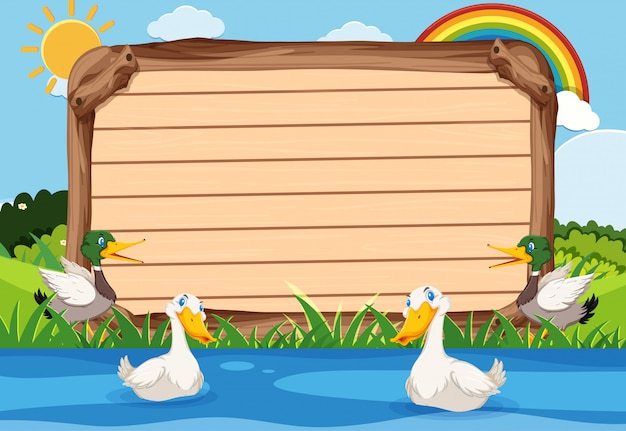 Wooden template with ducks swimming in the river
