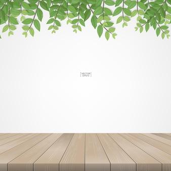 緑の葉と緑の自然地域のフレーミングを備えた木製テラス。コピースペース用の白い領域付き。ベクトルイラスト。
