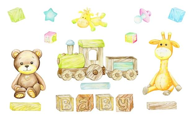 흰색 바탕에 나무 장난감 기차입니다. 만화 스타일의 수채화 클립 아트, 어린이 초대장 및 엽서.