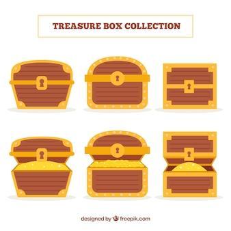 Collezione di cofanetti in legno con design piatto