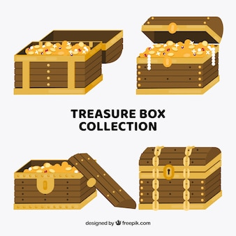 Wooden treasure box collection with flat design