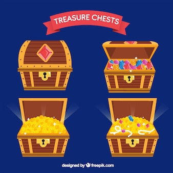 Wooden treasure chest collection with flat design