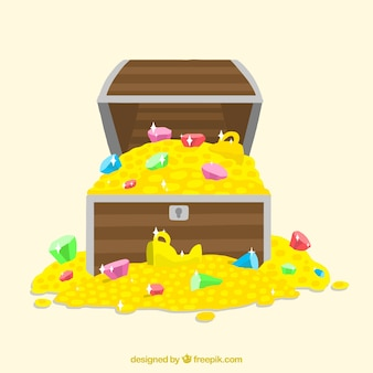 Wooden treasure chest with flat design