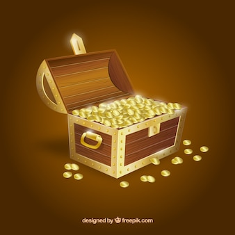 Wooden treasure chest with realistic design