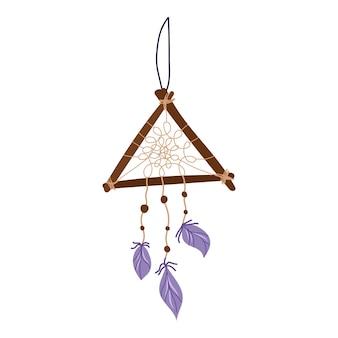 Ловец снов деревянный треугольник с фиолетовыми перьями. эзотерический и мистический элемент дизайна. векторная иллюстрация рисованной.