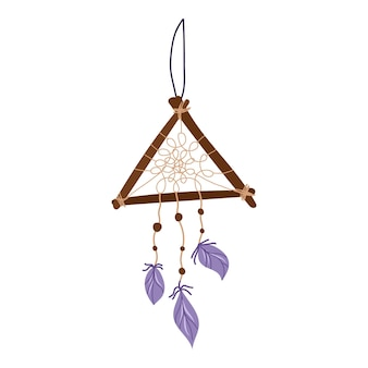 Wooden triangle dreamcatcher with purple feathers.esoteric and mystical design element.vector hand drawn illustration.