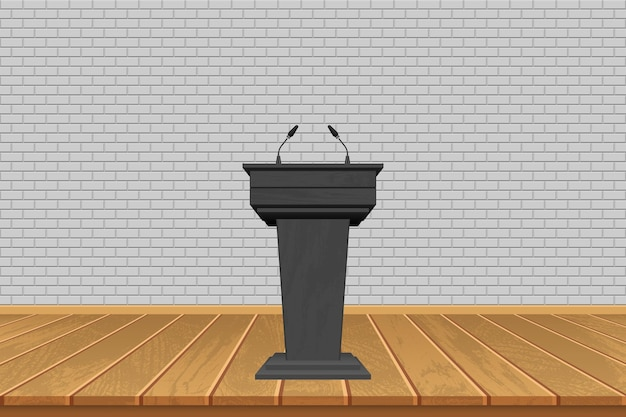 Деревянная трибуна с микрофонами на фоне сцены