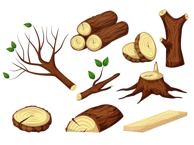 木の幹。みじん切りの木製のトランク、ログ、木材、切り株、木の枝の生の森の素材は、白い背景に設定します。薪を山積みまたは1本に積み上げます。製材業界イラスト