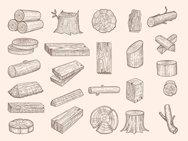 Wooden trunks. vintage drawn lumber stacked oak wooden old plants chopping vector sketch set