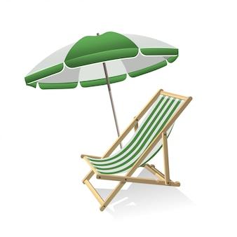 Деревянный зонт и шезлонг. летняя поездка, морской отдых и концепция тропического путешествия. иллюстрация изолирована.