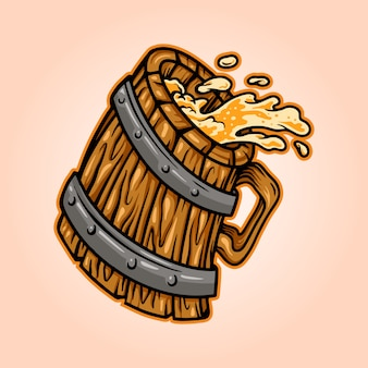 木製ヴィンテージグラスビール