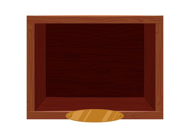 황금 명찰 템플릿이 있는 나무 빈티지 선반 갈색 빈 보관 상자
