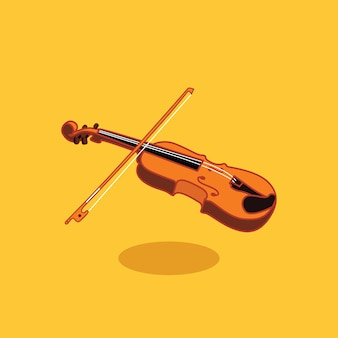 Wooden violin wisth bow vector flat design illustration