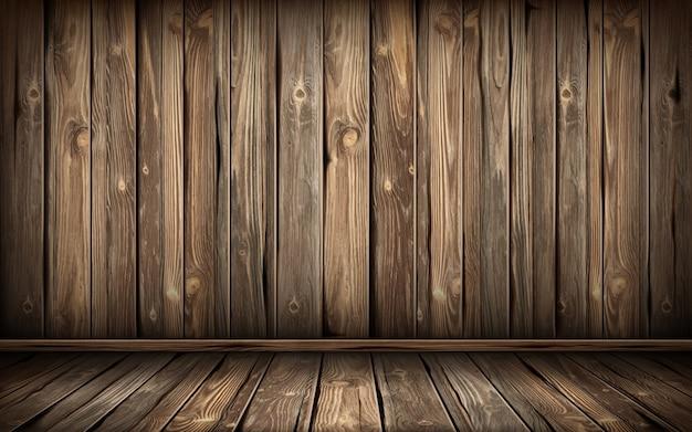 Деревянные стены и пол со старой поверхностью, реалистичные