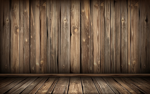Wooden wall and floor with aged surface, realistic