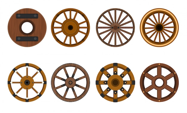 Wooden wheel vector cartoon set icon.vector illustration cart of wheel. isolated cartoon icon cartwheel for wagon .