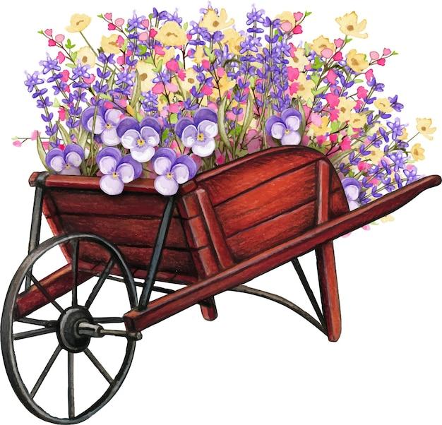 春の花でいっぱいの木製手押し車