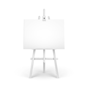 Wooden white easel with mock up empty blank horizontal canvas isolated on background