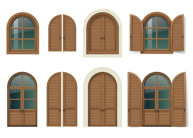 木製の窓とシャッター付きドア
