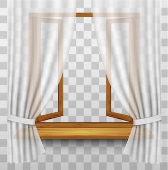 Деревянная оконная рама с занавесками на прозрачном фоне. вектор