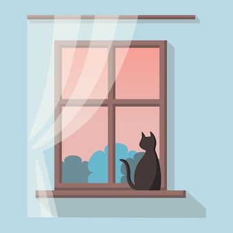 Wooden window with landscape view. black cat is sitting on the windowsill
