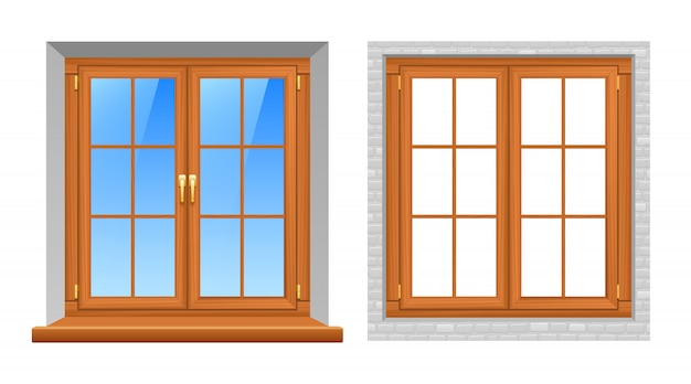 Wooden windows indoor outdoor realistic icons
