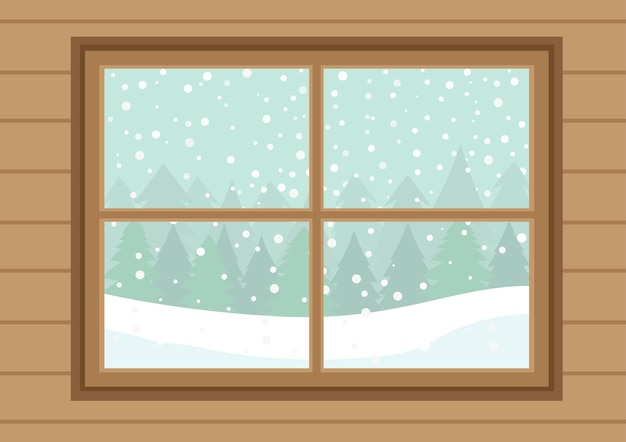 Wooden windows with white falling snow