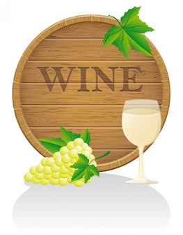 Wooden wine barrel and glass vector illustration