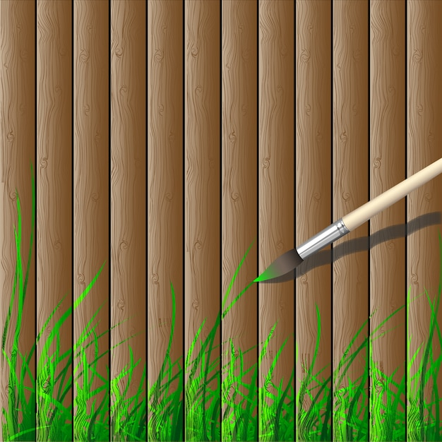 Wooden with grass bottom border