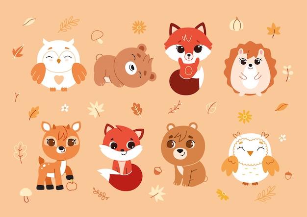 Набор лесных животных и элементов декора.