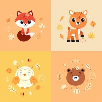 森の動物と装飾要素のセット。