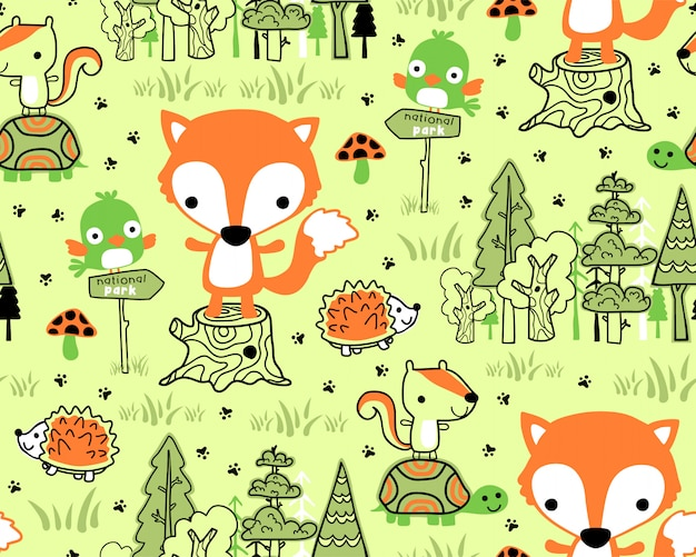 Woodland animals cartoon on seamless pattern