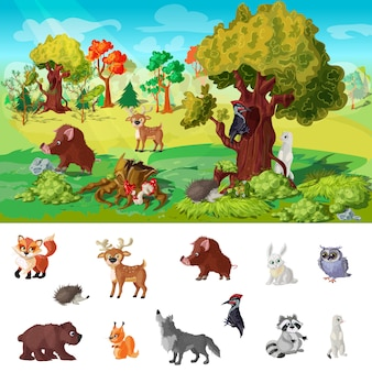 Woodland animals character concept illustration