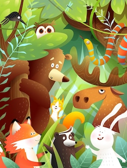 Woodland animals friends in green forest together bear moose rabbit squirrel snake animals